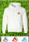 Atomic Bowls Mens Womens Unisex Lawn Bowls White Hooded Hoodie Sweatshirt 3 Coloured Logo's